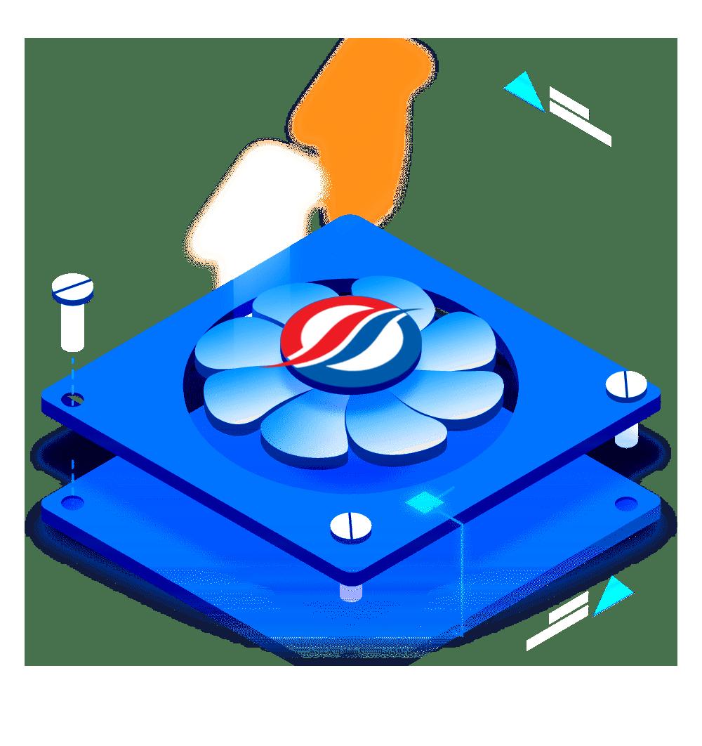 لوگوی جهان تهویه اعتماد روی یک فن